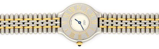 Foto 1, Cartier 21 Must.de Cartier Stahl Gold Damen Armband Uhr, U1519