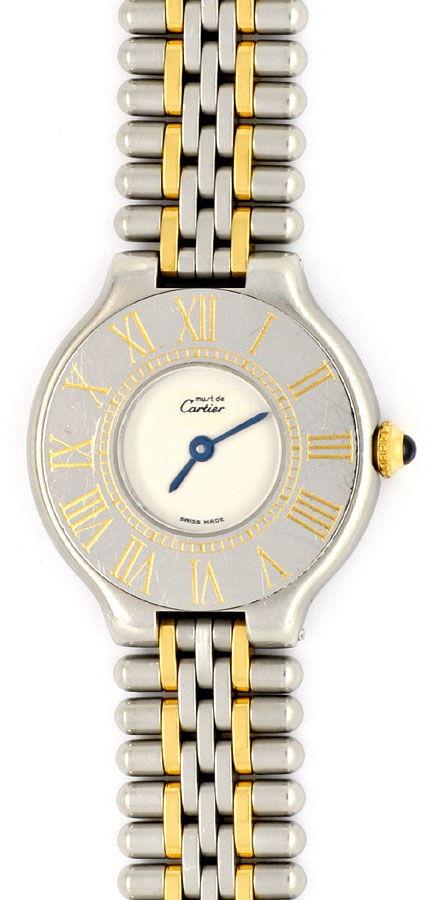 Foto 2, Cartier 21 Must.de Cartier Stahl Gold Damen Armband Uhr, U1519