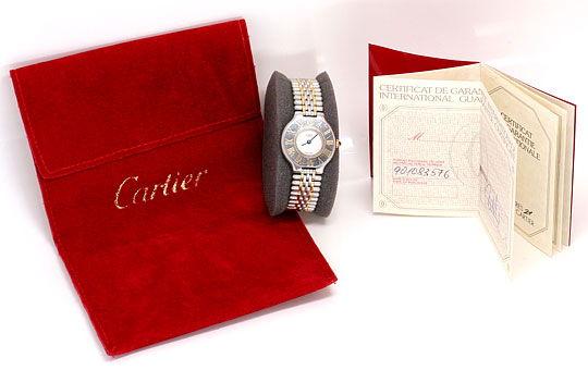 Foto 6, Cartier 21 Must.de Cartier Stahl Gold Damen Armband Uhr, U1519