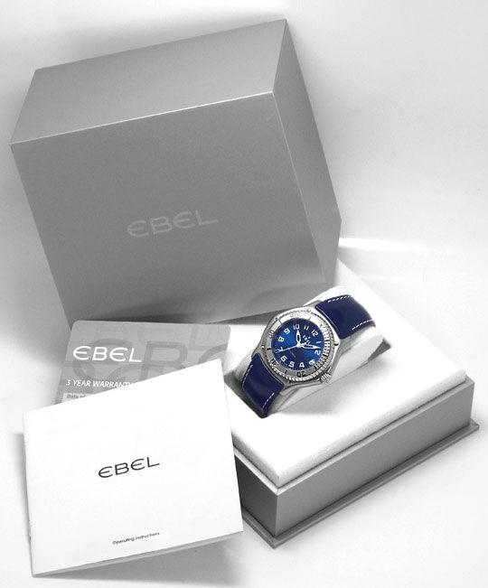 Foto 6, Ebel Discovery Blau Edelstahl Lederband Falt Ungetragen, U1528
