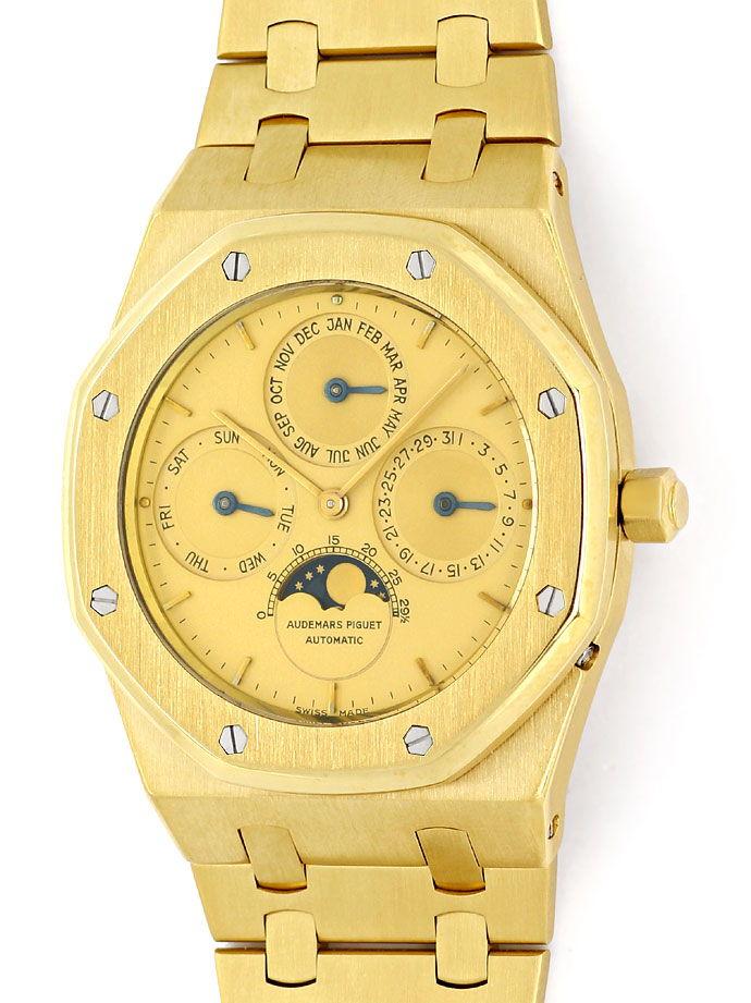 Foto 2, Audemars Piguet Royal Oak Mond ewiger Kalender Gold Uhr, U1541
