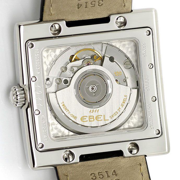 Foto 4, Ebel 1911 LaCarree Automatik Stahl Herrenuhr ungetragen, U1551