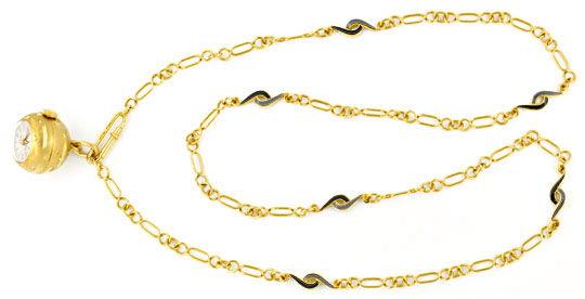 Foto 1, Gold Kugel Anhäger Uhr Emaille Goldkette Rar 18K Topuhr, U1558