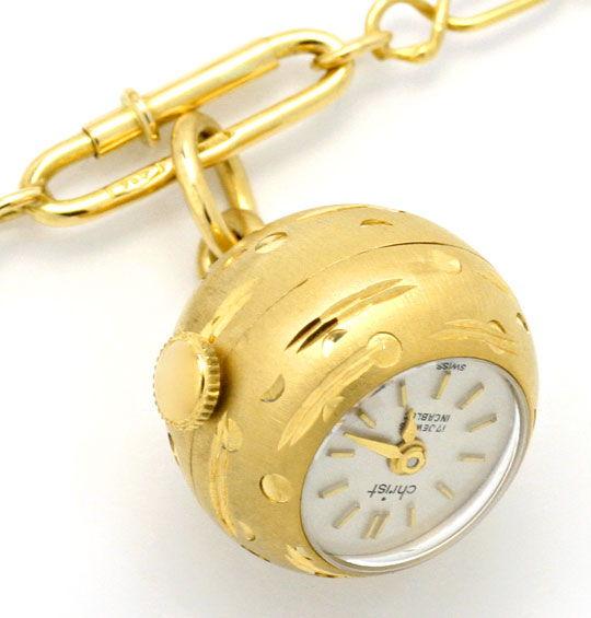 Foto 2, Gold Kugel Anhäger Uhr Emaille Goldkette Rar 18K Topuhr, U1558