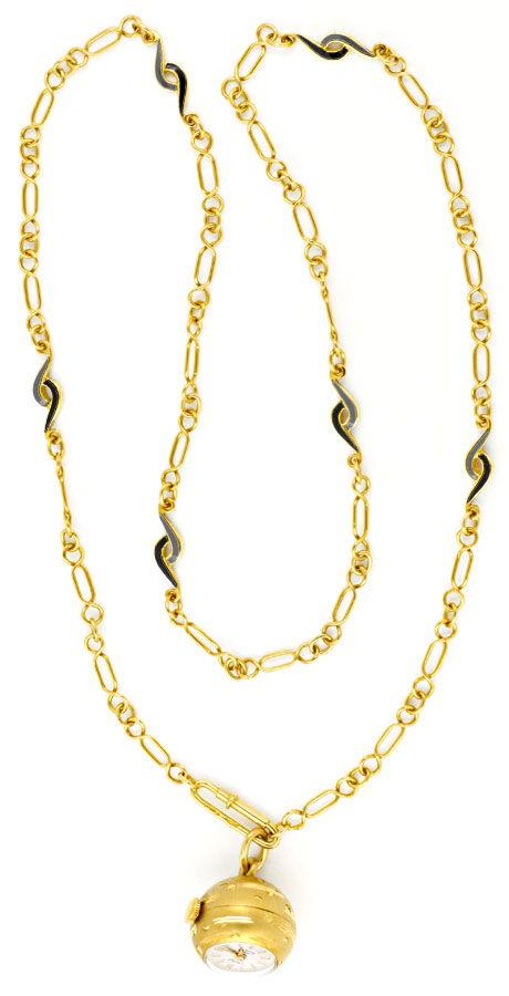 Foto 9, Gold Kugel Anhäger Uhr Emaille Goldkette Rar 18K Topuhr, U1558