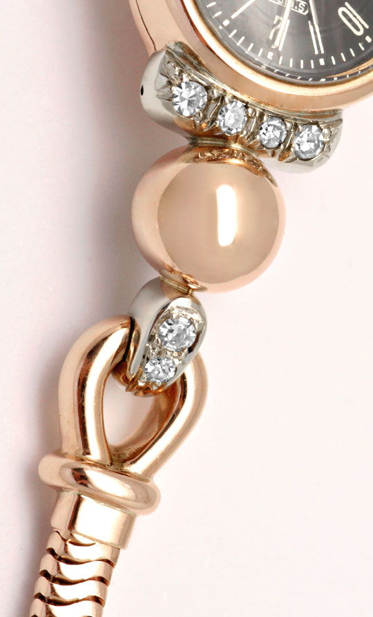 Foto 3, Antike 1A Designer Diamanten Rotgold Weissgold Damenuhr, U1570