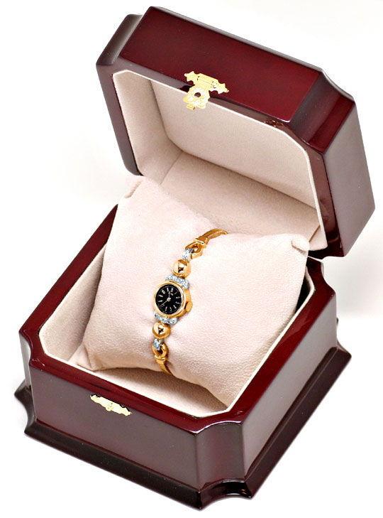 Foto 5, Antike 1A Designer Diamanten Rotgold Weissgold Damenuhr, U1570