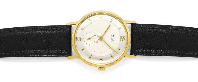 Foto 1, Onsa Vintage Herren Uhr, Handaufzug, 18K Gold Lederband, U1580