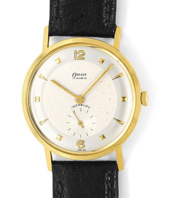 Foto 2, Onsa Vintage Herren Uhr, Handaufzug, 18K Gold Lederband, U1580