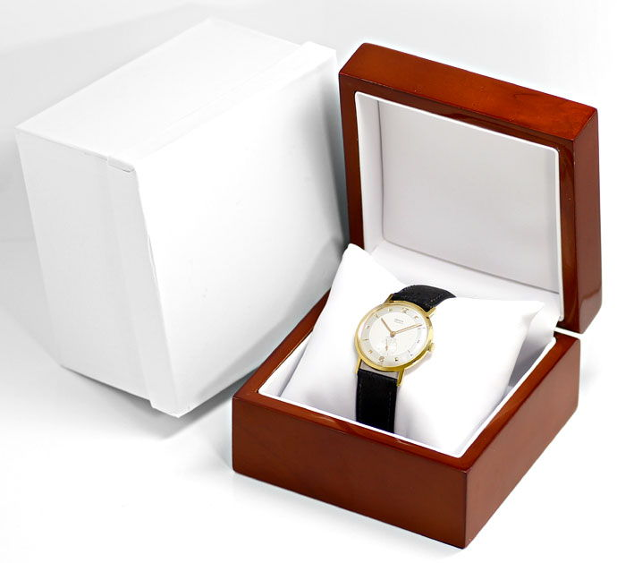 Foto 4, Onsa Vintage Herren Uhr, Handaufzug, 18K Gold Lederband, U1580