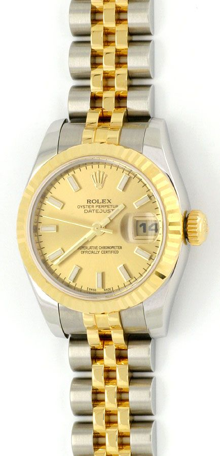 rolex datejust damen uhr stahlgold automatik ungetragen u1595. Black Bedroom Furniture Sets. Home Design Ideas