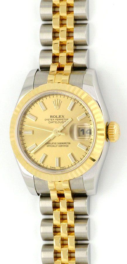 Foto 2, Rolex Datejust Damen Uhr Stahlgold Automatik Ungetragen, U1595