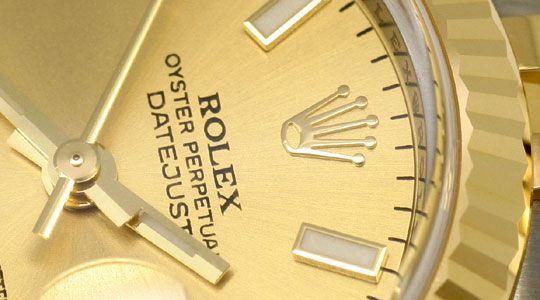 Foto 3, Rolex Datejust Damen Uhr Stahlgold Automatik Ungetragen, U1595