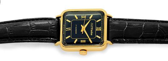 Foto 1, Alte Herren Armbanduhr Rotgold Lederband Tolle Ansaetze, U1603