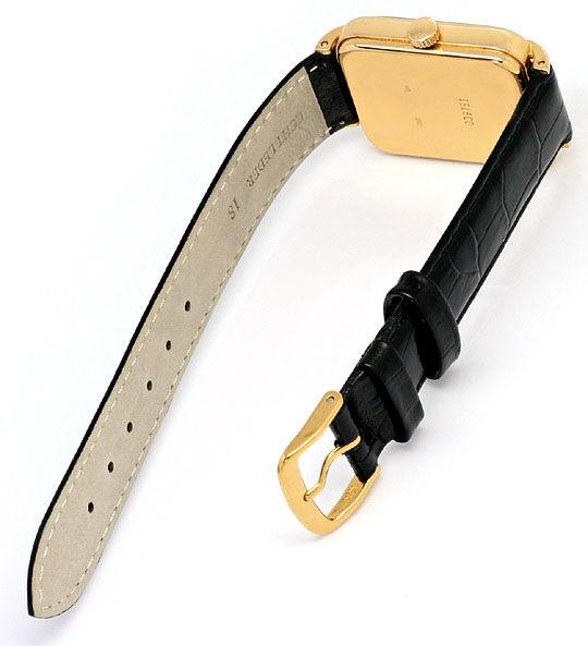 Foto 3, Alte Herren Armbanduhr Rotgold Lederband Tolle Ansaetze, U1603