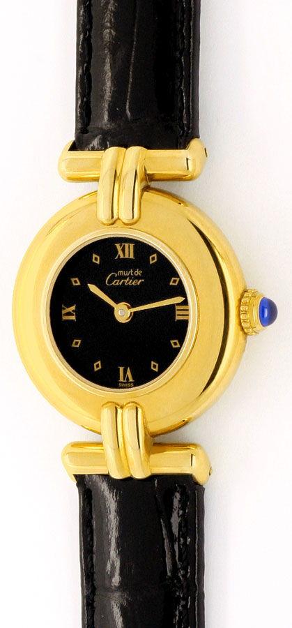 Foto 2, Cartier Colisee Damenuhr Sterling Silber Gold Vermeille, U1620