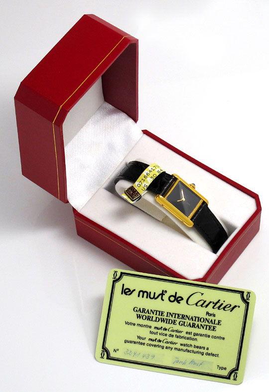 Foto 5, Tank Must.de Cartier Vermeil Kroko Falt Damenarmbanduhr, U1626