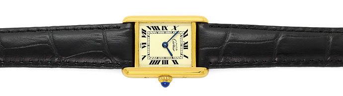 Foto 1, Must de Cartier Vermeil Damen Uhr, 925 Silber vergoldet, U1635