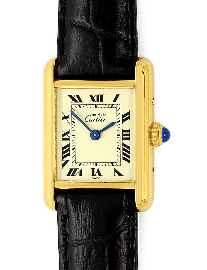 Foto 2, Must de Cartier Vermeil Damen Uhr, 925 Silber vergoldet, U1635