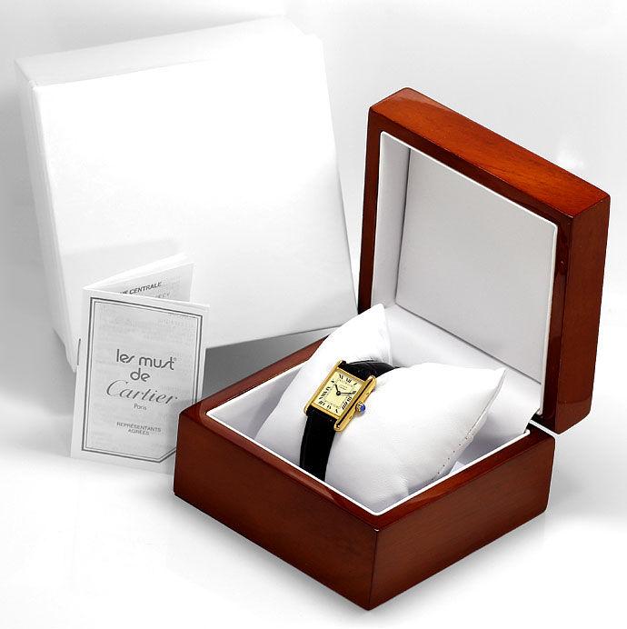 Foto 4, Must de Cartier Vermeil Damen Uhr, 925 Silber vergoldet, U1635