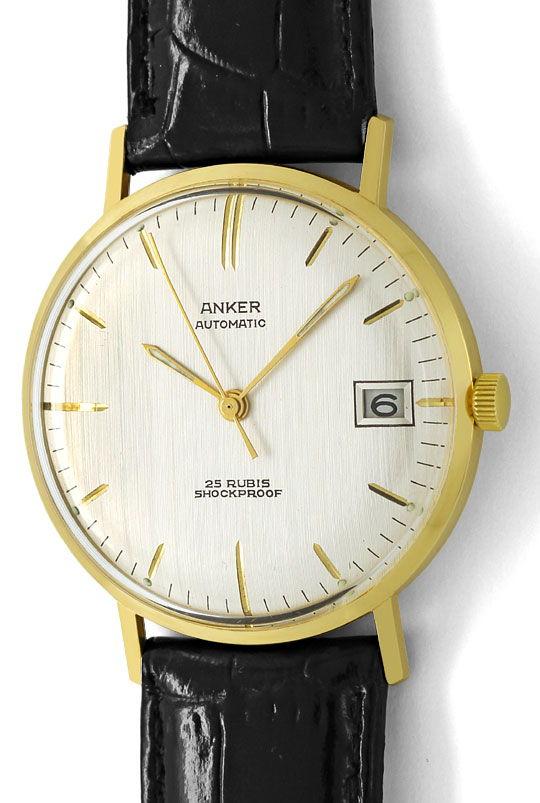 Foto 2, Herren Armbanduhr, Gelbgold 14K Automatik Datum Sekunde, U1650