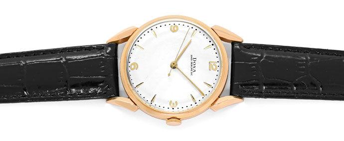 Foto 1, Doxa Vintage Herren Armbanduhr 14K Rose Gold, Lederband, U1660