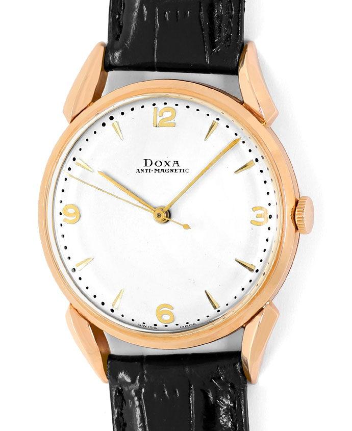 Foto 2, Doxa Vintage Herren Armbanduhr 14K Rose Gold, Lederband, U1660