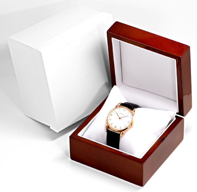 Foto 4, Doxa Vintage Herren Armbanduhr 14K Rose Gold, Lederband, U1660