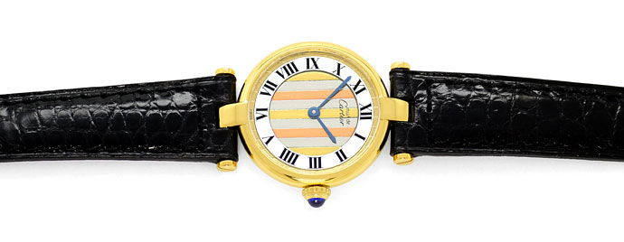 Foto 1, Cartier Vermeil, Vendome Louis Cartier Damen 925 3 Gold, U1667