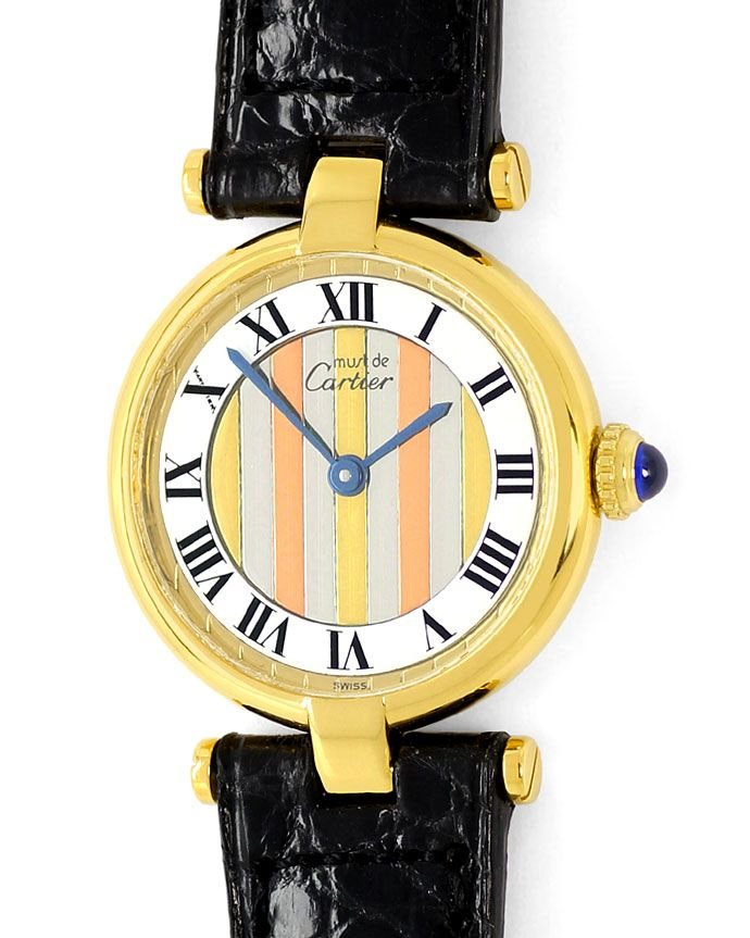 Foto 2, Cartier Vermeil, Vendome Louis Cartier Damen 925 3 Gold, U1667