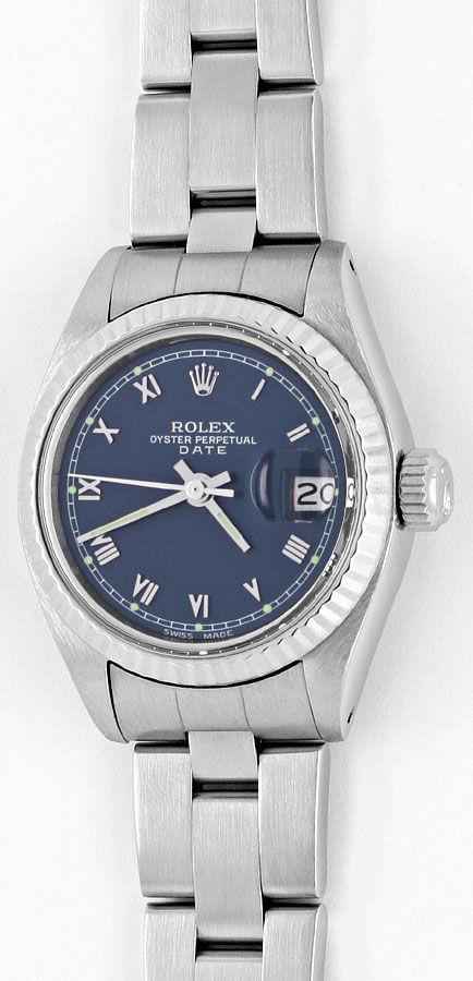 Foto 2, Rolex Date Damen Armbanduhr Weissgold Lünette Edelstahl, U1680
