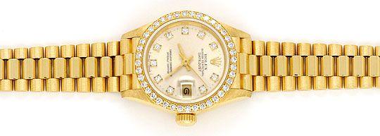 Foto 1, Rolex Datejust Damen G.Gold Diamant Lünette Zifferblatt, U1695