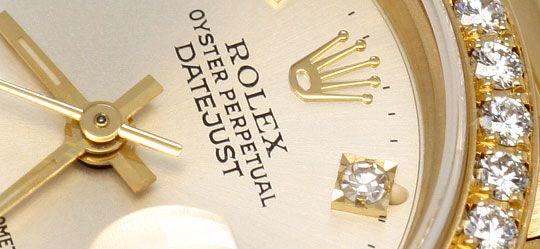 Foto 3, Rolex Datejust Damen G.Gold Diamant Lünette Zifferblatt, U1695