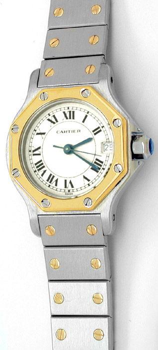 Foto 1, Original Top Damen Cartier Santos, Stahl/Gold Portofrei, U1728