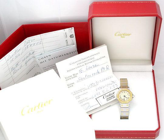 Foto 3, Original Top Damen Cartier Santos, Stahl/Gold Portofrei, U1728