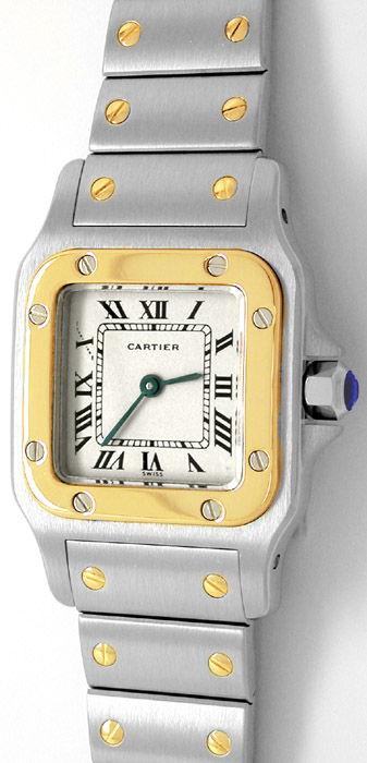 Foto 1, Original Cartier Santos Galbee, Damen Uhr in Stahl Gold, U1778