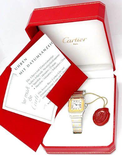 Foto 3, Original Cartier Santos Galbee, Damen Uhr in Stahl Gold, U1778