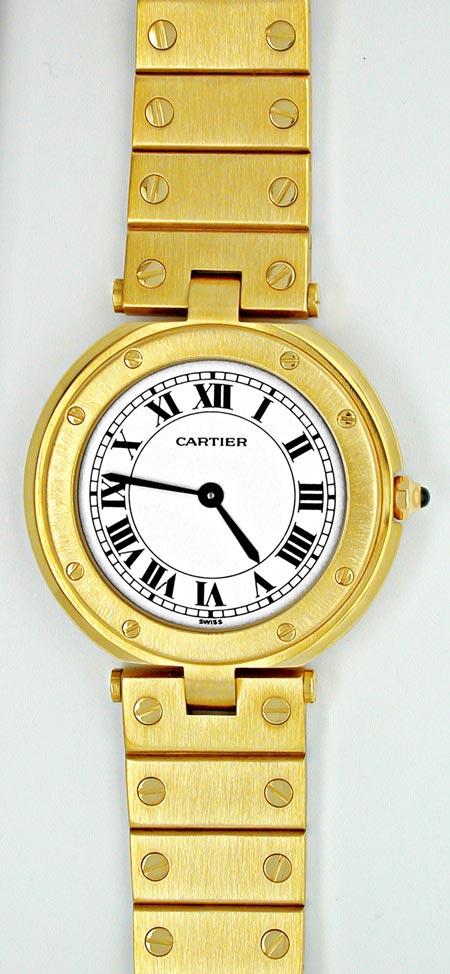 Foto 2, Orig. Cartier Santos Gelbgold Herren Uhr Geprüft Neuz.!, U1799