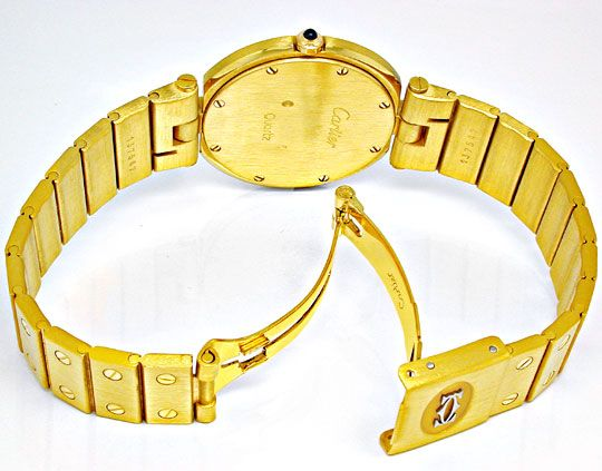 Foto 3, Orig. Cartier Santos Gelbgold Herren Uhr Geprüft Neuz.!, U1799