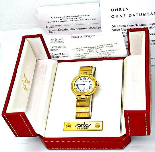 Foto 4, Orig. Cartier Santos Gelbgold Herren Uhr Geprüft Neuz.!, U1799