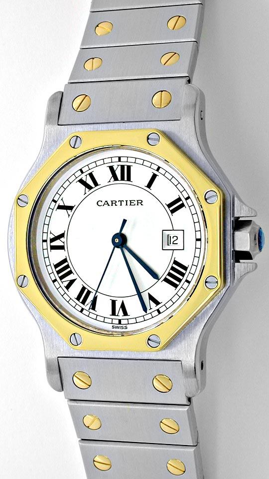 Foto 2, Cartier Santos 8Eck/Ronde Hr STG Auto Topuhr Ungetragen, U1810