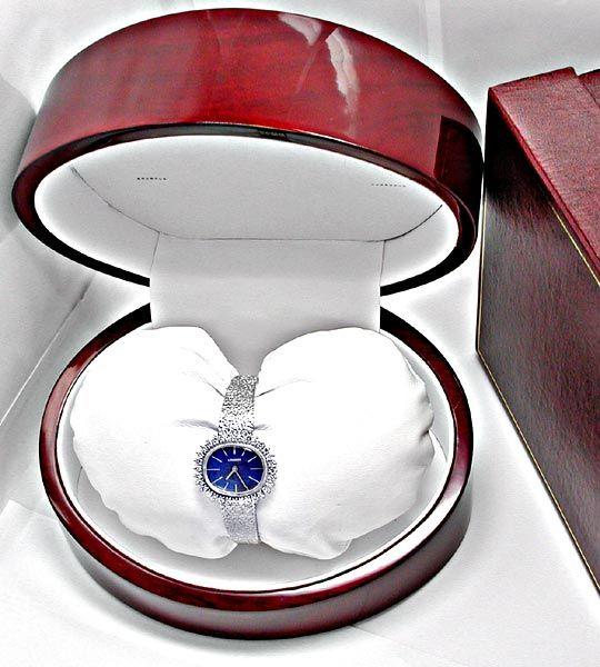 Foto 4, Damen Longines Diamant Weissgold Lapis Topuhr Portofrei, U1856