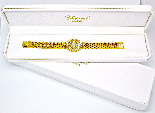Foto 4, Orig.Da Chopard Happy Diamonds 18K Topuhr Neu Portofrei, U1860