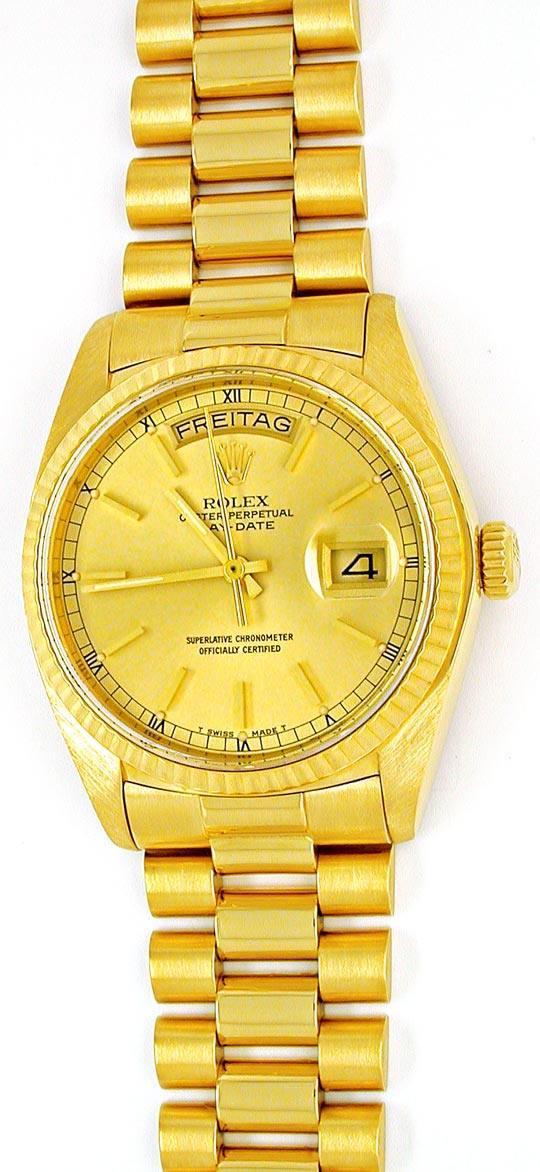 Foto 2, Original Hr-Rolex-Daydate Gelbg. Topuhr Neuw. Portofrei, U1862