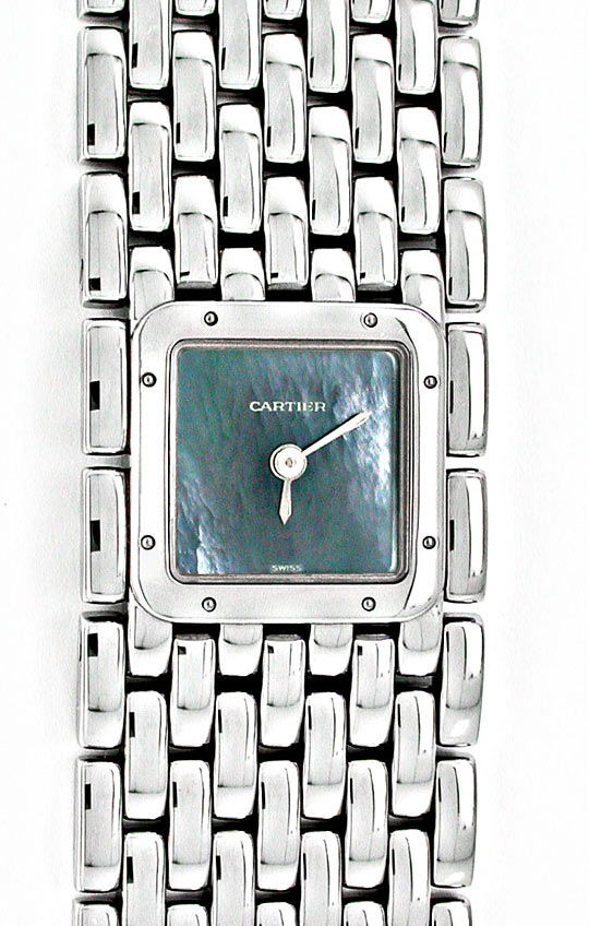 Foto 2, Ungetragene Damen-Uhr Cartier Panthere Ruban, Edelstahl, U1878