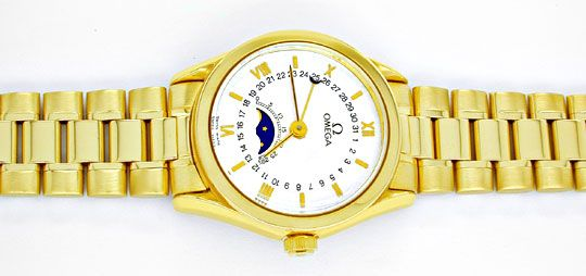 Foto 1, Damen Omega 18K-G.Gold Automatik Mondphase Datum Topuhr, U1894