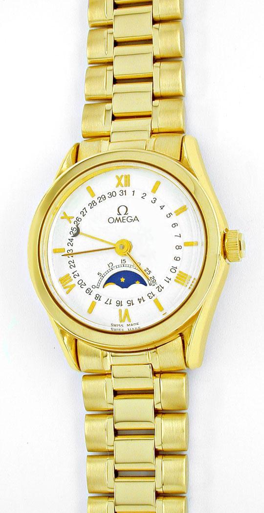 Foto 2, Damen Omega 18K-G.Gold Automatik Mondphase Datum Topuhr, U1894