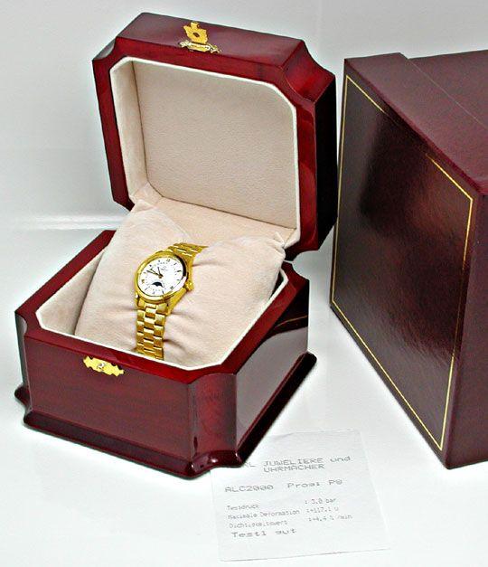 Foto 4, Damen Omega 18K-G.Gold Automatik Mondphase Datum Topuhr, U1894