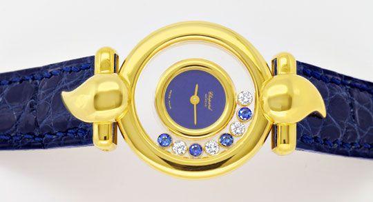 Foto 1, Chopard Casmir Damen Safire Diamanten Gold Topuhr Neuz., U1905