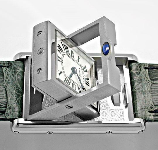 Foto 3, Cartier Tank Basculante Medium Stahl Topuhr Ungetragen!, U1906